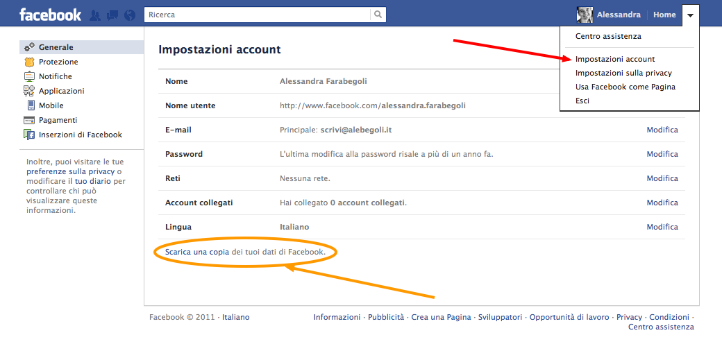 recupero chat facebook